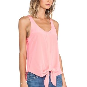 RORY BECA Tino Tank Top Cami Front Tie Silk